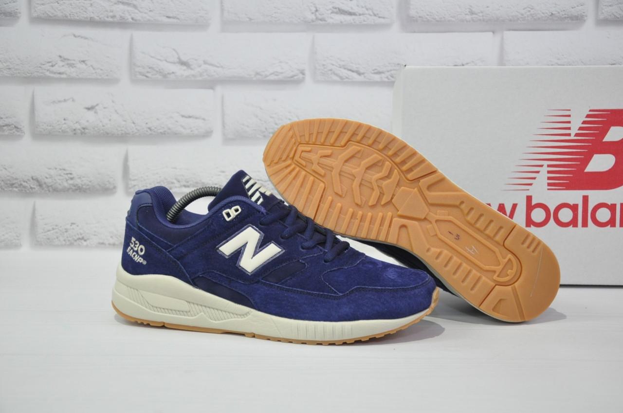 Чоловічі демісезонні сині замшеві кросівки в стилі New Balance 530 EURONCAP