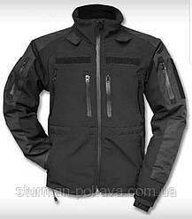 Куртка мужская тактическая демисезонная  SOFT - SHELL JACKE MIL-TEC® PLUS  цвет черный Германия