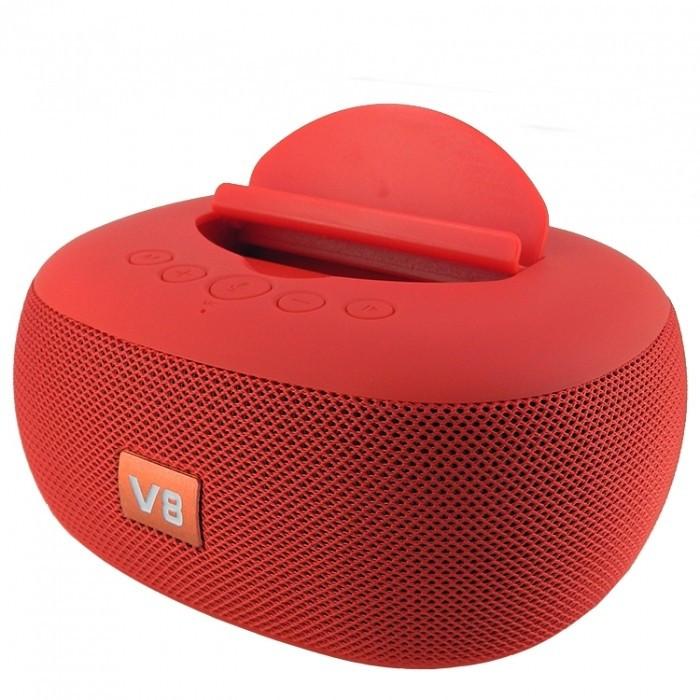 Бездротова Bluetooth Колонка JBL V8 з підставкою для телефону Червона