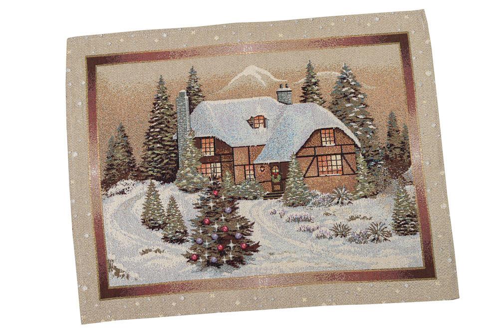 """Комплект 2 салфетки новогодние гобеленовые """"Карпатская ночь"""" (с золотой люрексовой ниткой) 37х49"""