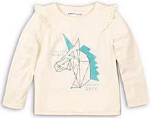Детский реглан для девочки с принтом единорог и паетками молочный 80-86 см