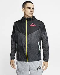 Ветровка мужская Nike с капюшоном черная M NK WR JKT HD TRAIL