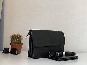 Жіноча чорна сумочка-клатч з плечовим ременем класична Pretty woman