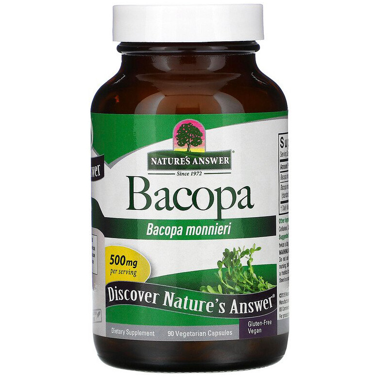"Бакопа Nature's Answer ""Bacopa"" для улучшения памяти, 500 мг (90 капсул)"