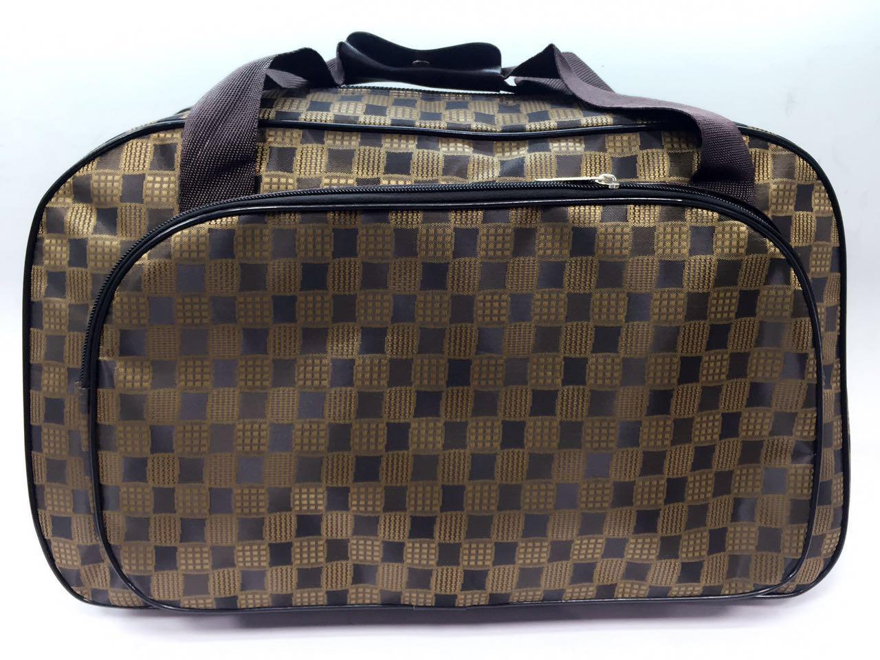 Женская сумка саквояж маленькая текстильная коричневая ручная кладь