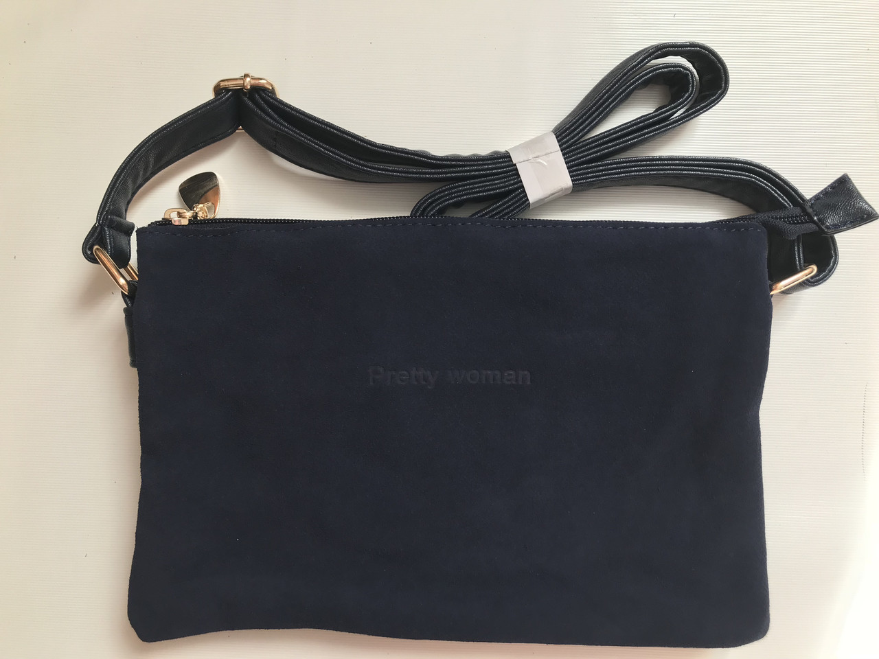Молодіжна сумочка клатч з натурального замша через плече темно-синій колір Pretty Woman