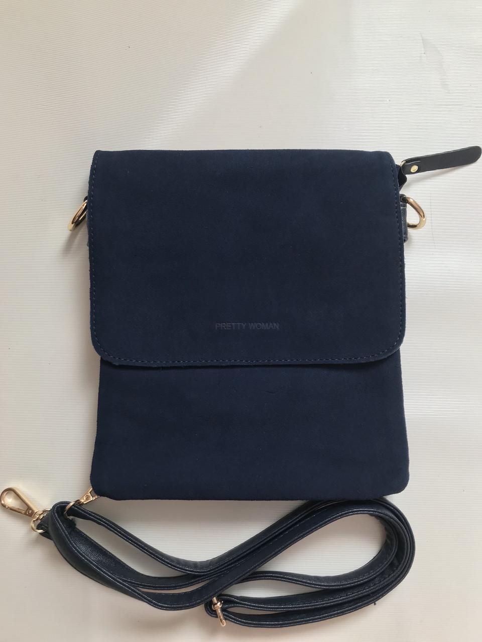 Женская сумка-плашетка через плечо клатч замшевый темно-синий Pretty Woman