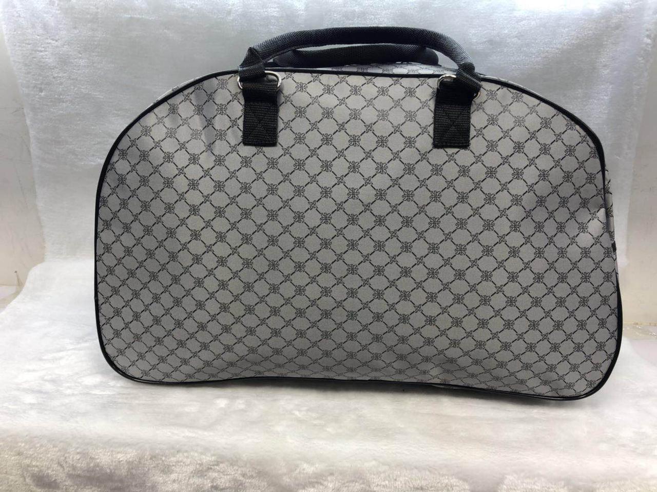Женская серая текстильная сумка-саквояж дорожная