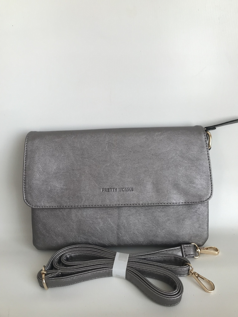 Женская сумочка клатч серебристого цвета через плечо кроссбоди Pretty Woman