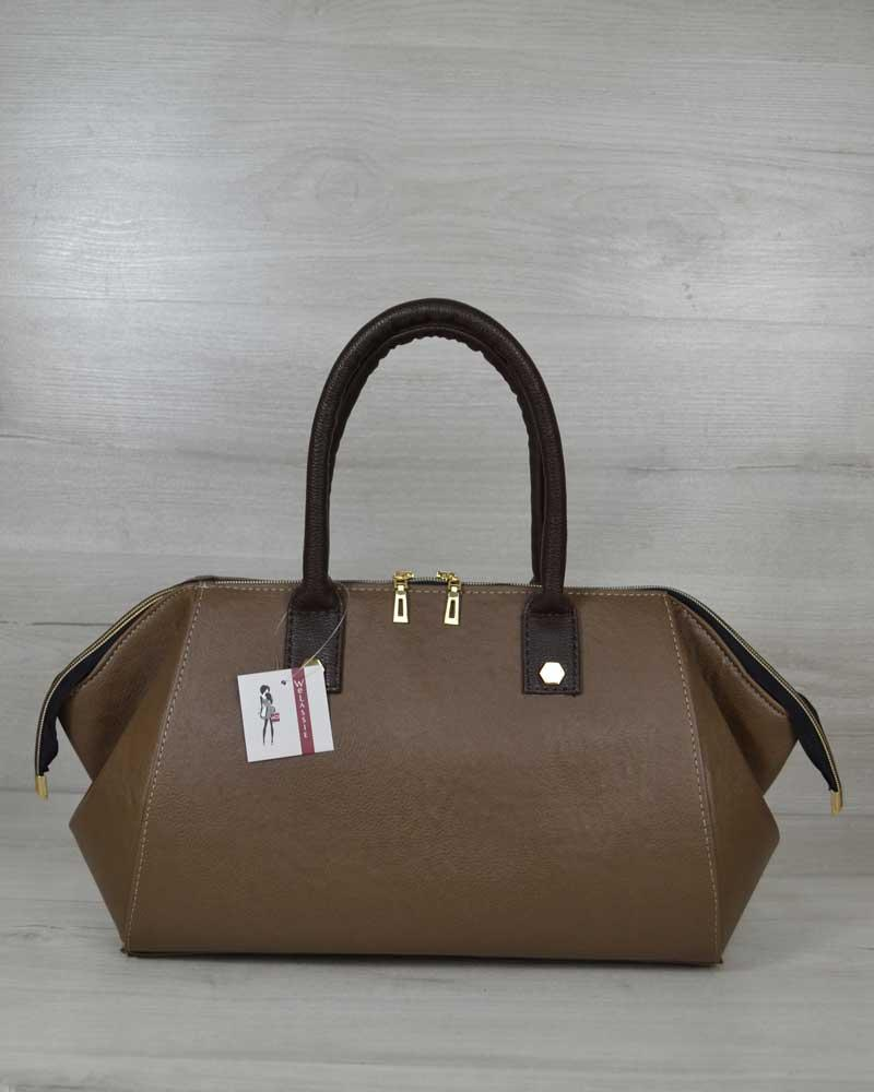 Каркасна ділова сумка саквояж жіноча кавового кольору