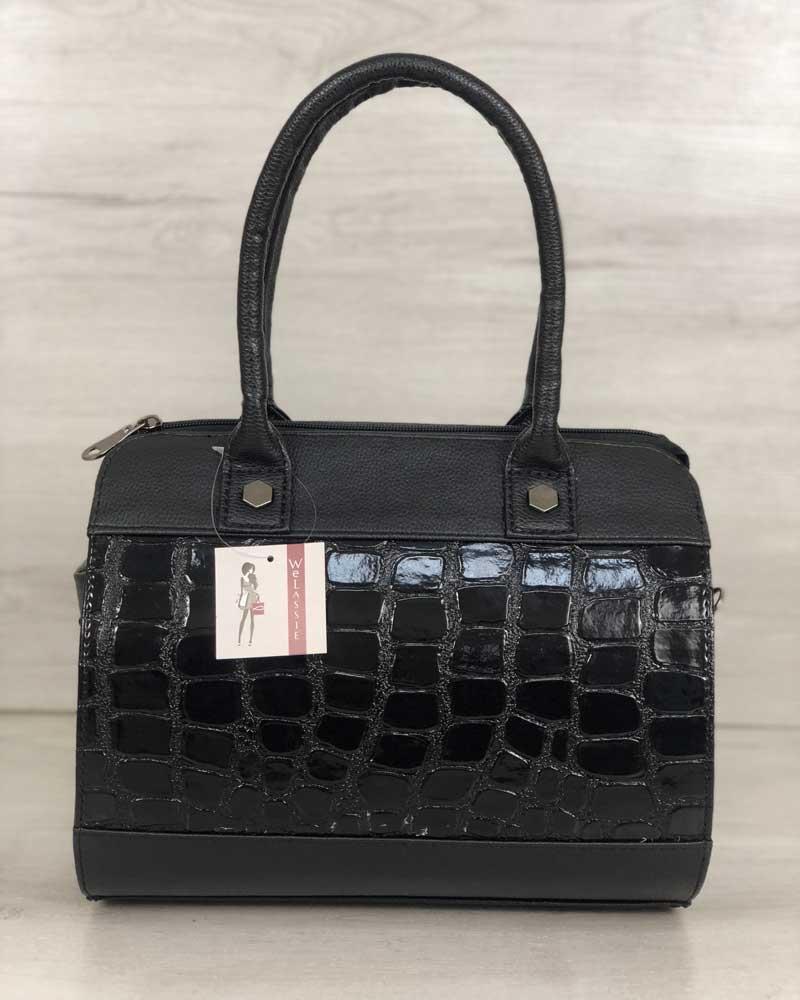 Женская черная классическая сумка саквояж каркасная