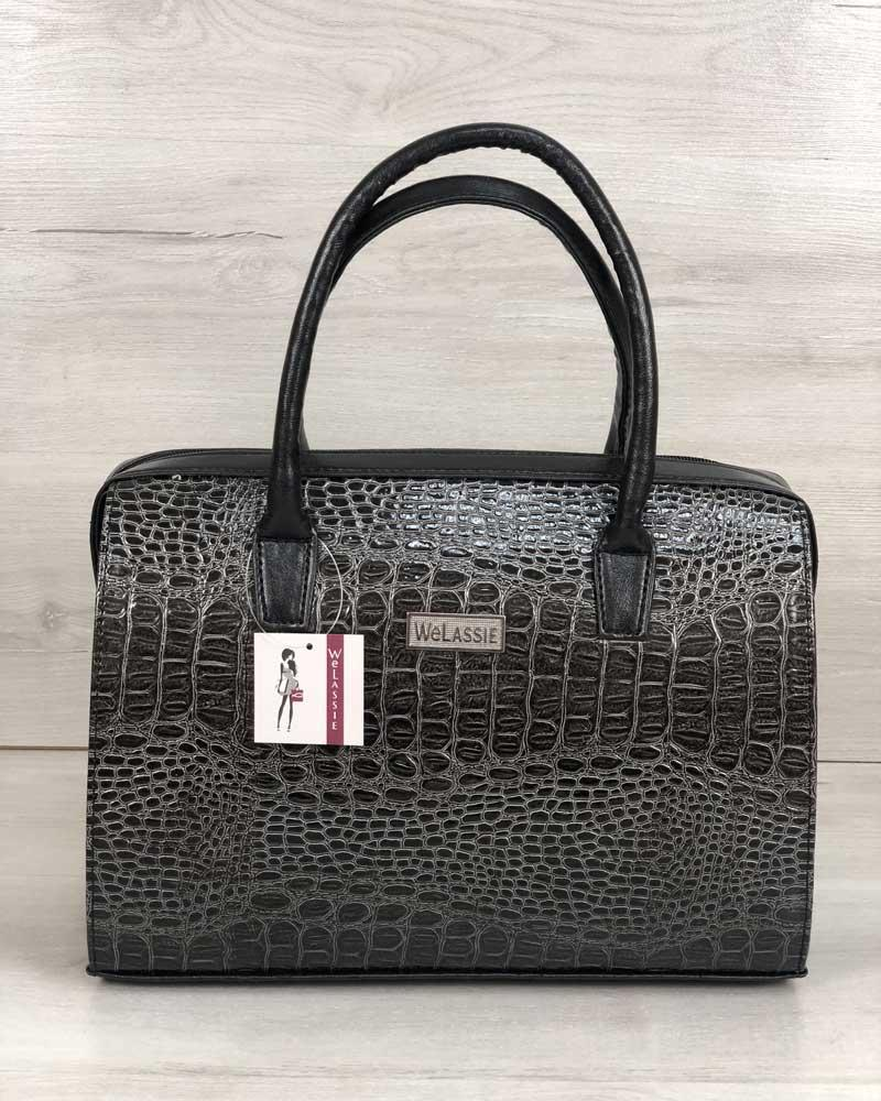 Женская сумка саквояж деловая классическая серая под крокодила