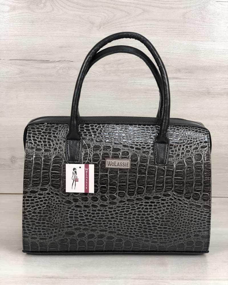Жіноча сумка саквояж ділова класична сіра під крокодила