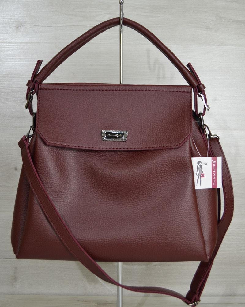 Жіноча бордова повсякденна сумка на довгому ремінці