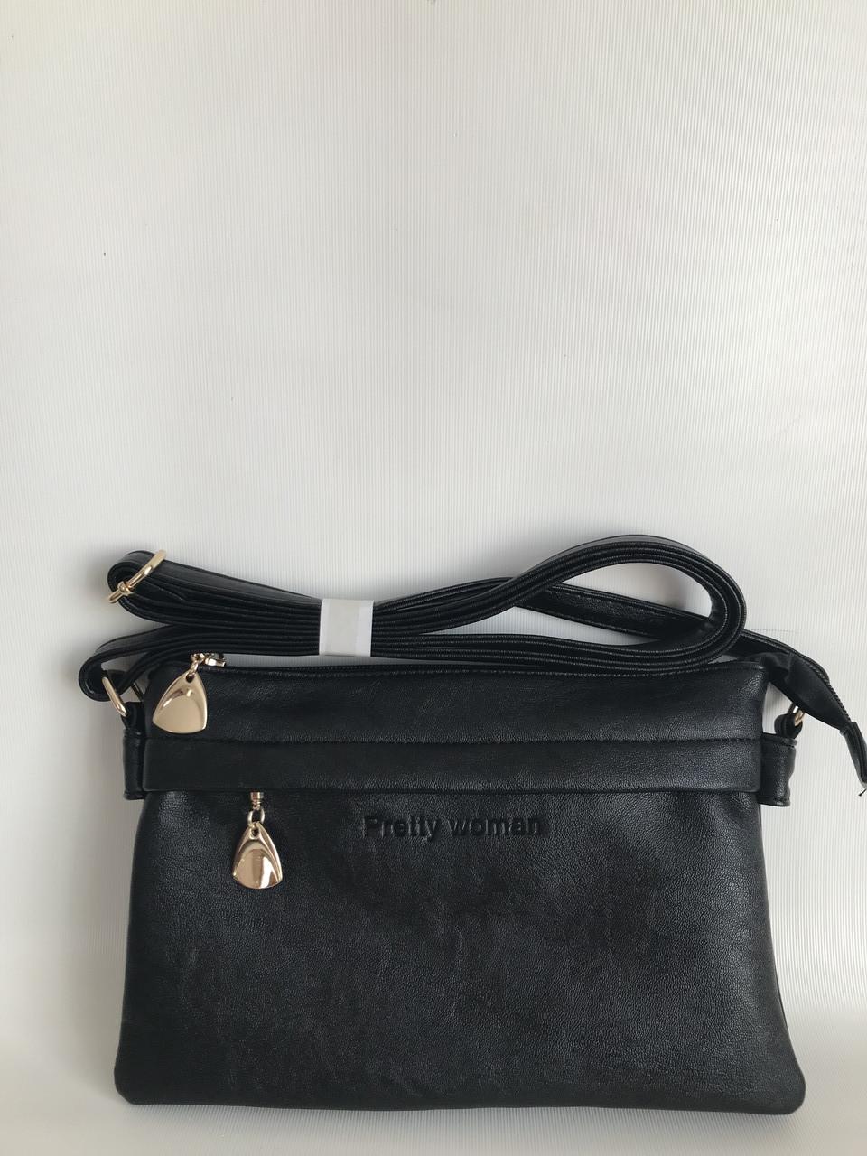 Черный женский клатч маленькая сумочка через плечо Pretty Woman