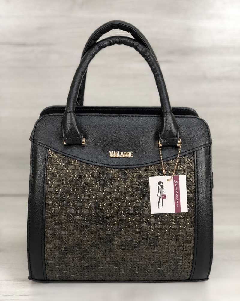 Каркасная черная женская деловая сумка