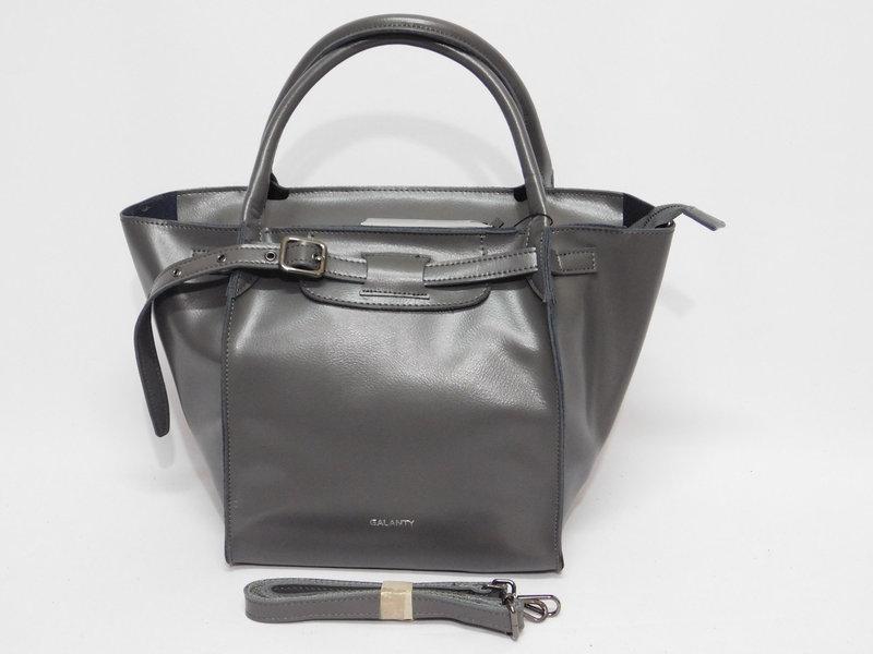 Стильная женская сумка из натуральной кожи серая