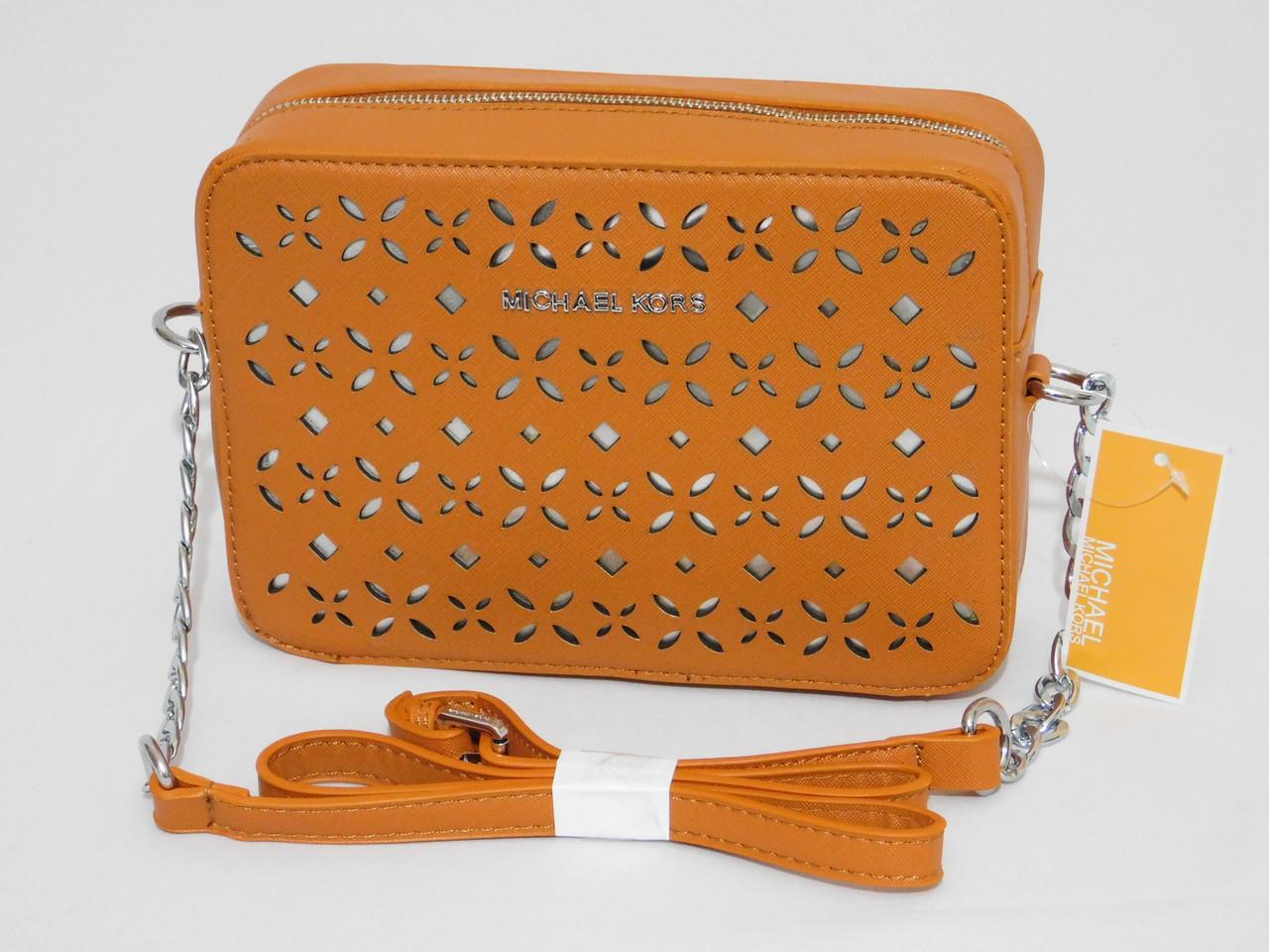 Женская мини-сумочка клатч через плечо с перфорацией