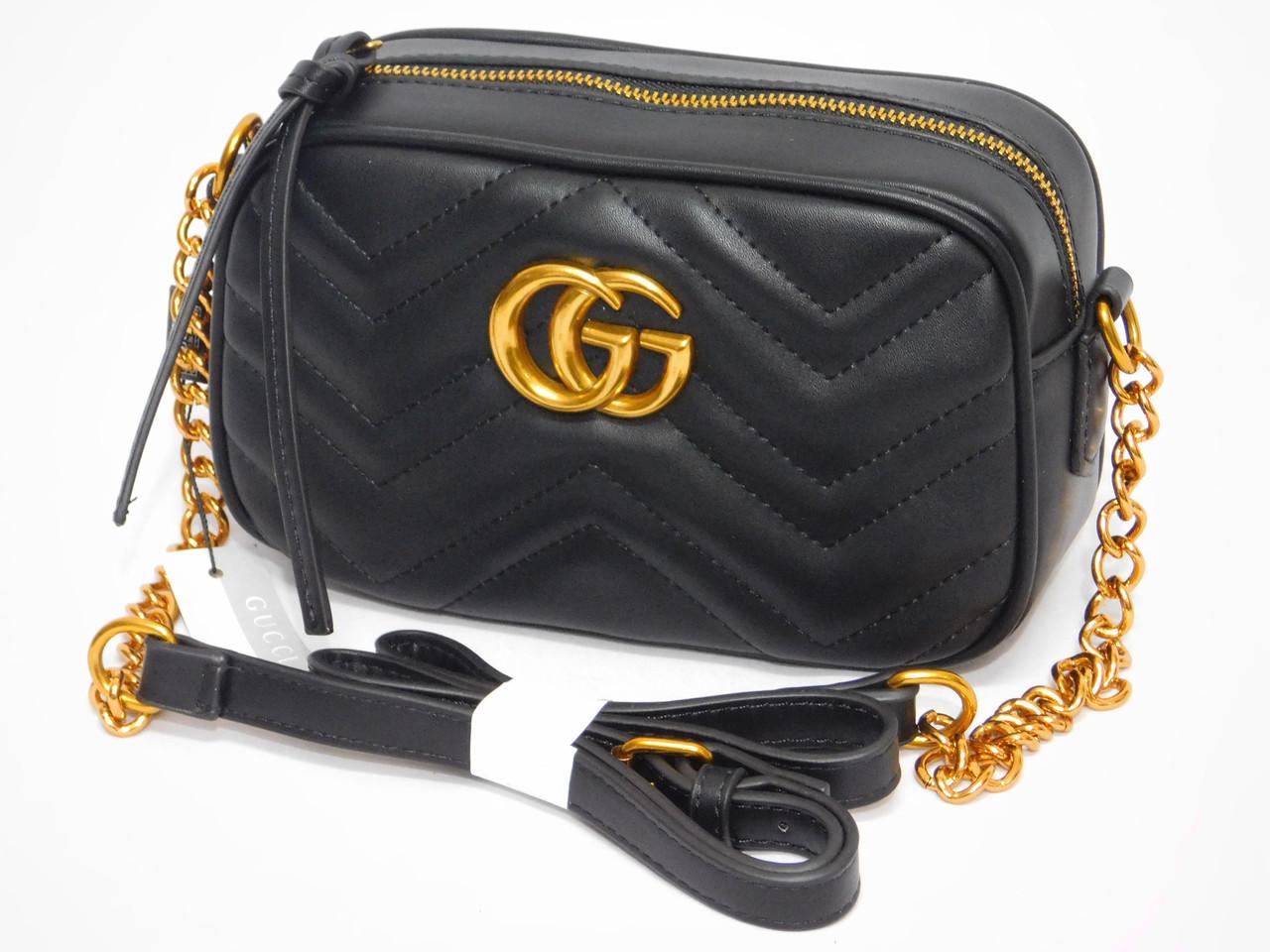 Чорна м'яка жіноча міні сумочка клатч через плече