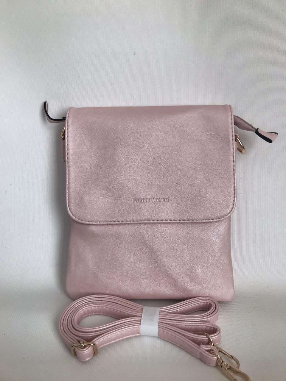 Женская стильная сумка планшет розовая через плечо Pretty woman