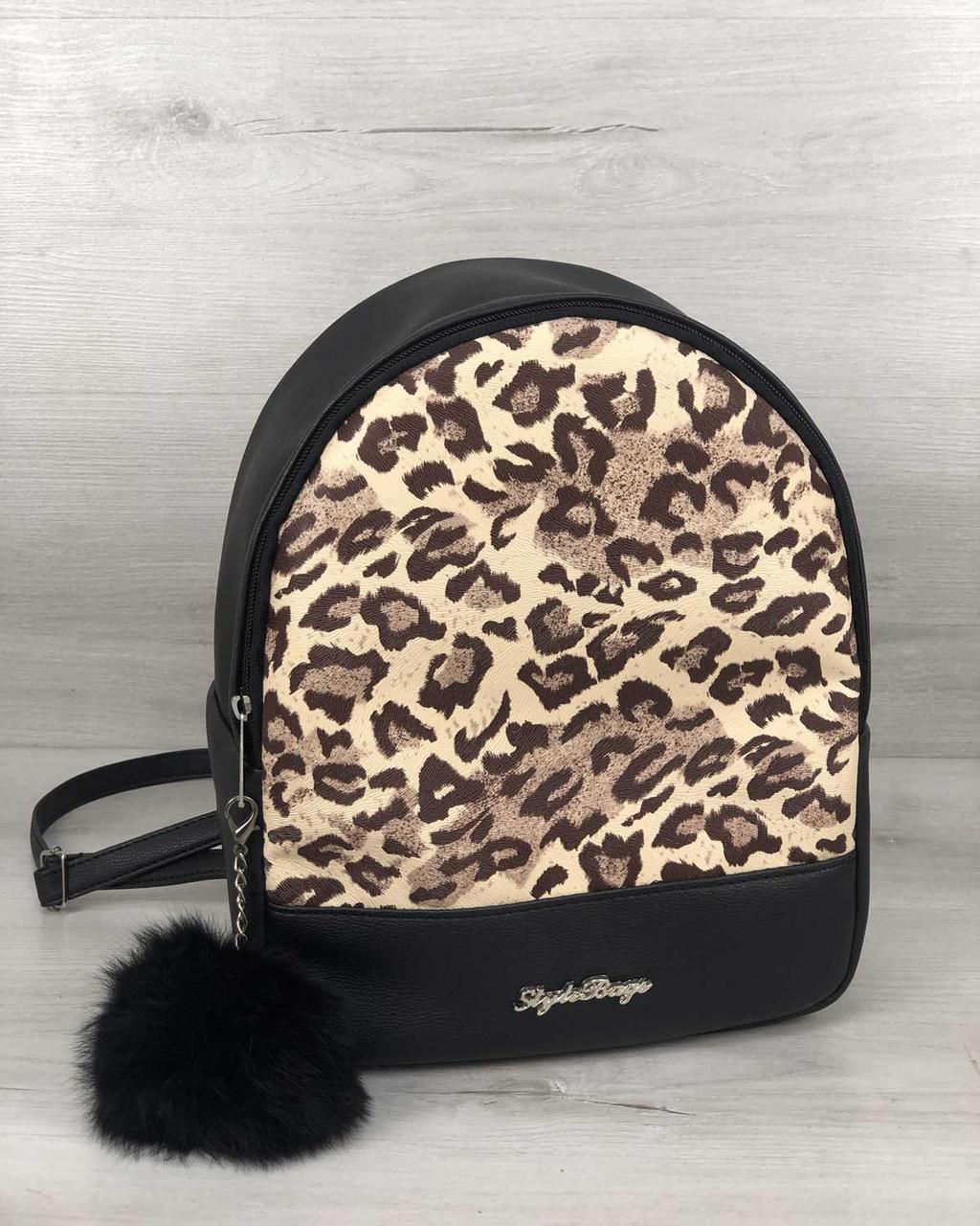 Молодежный рюкзак городской женский леопардовый принт