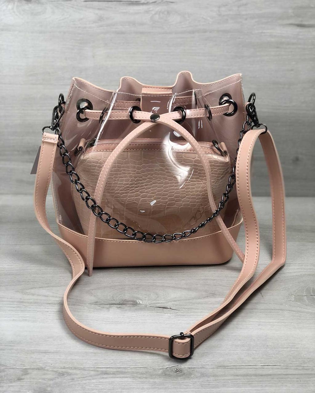 Стильная женская сумка мешок розового цвета с косметичкой силиконовая