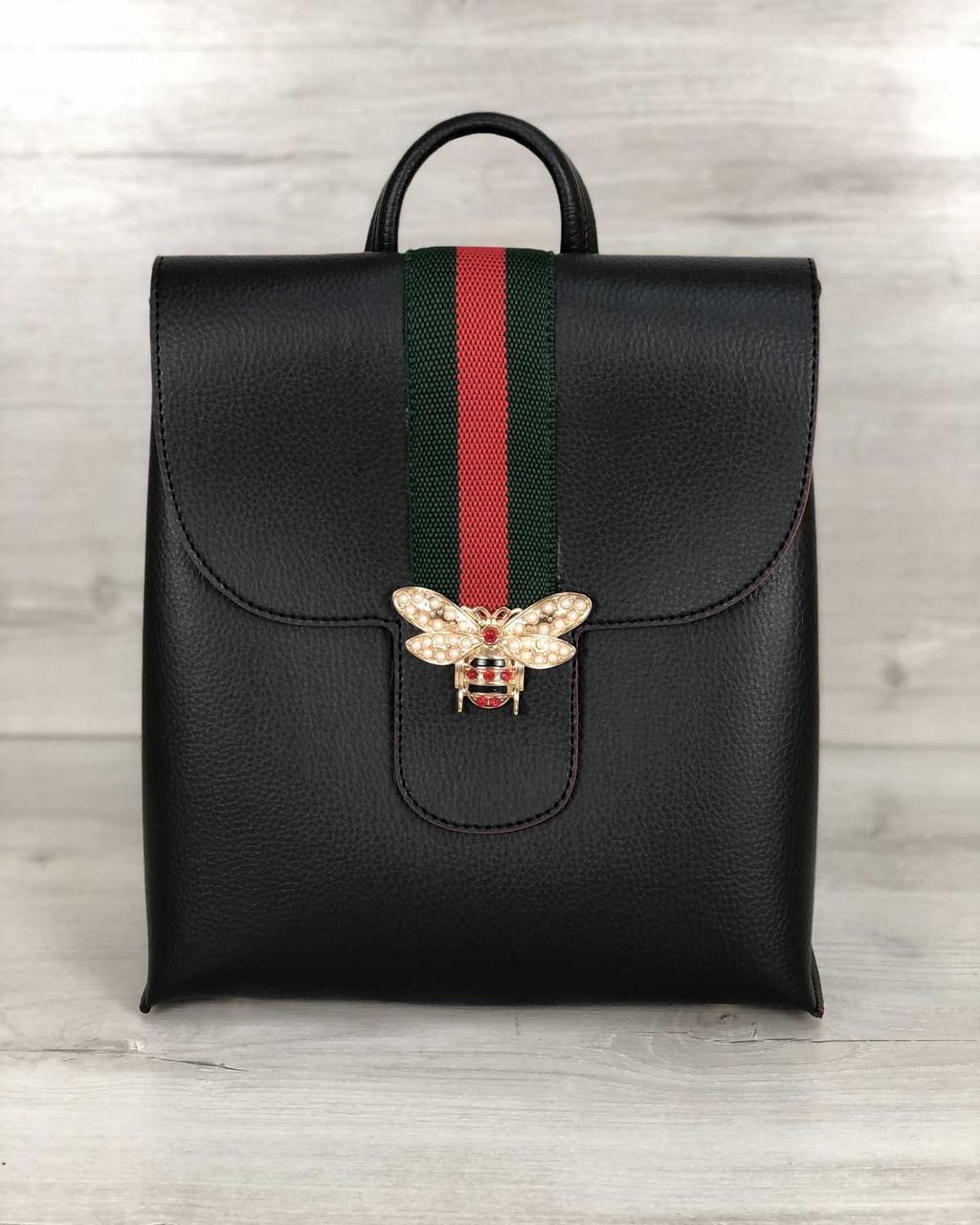 Чорний рюкзак міський жіночий модний з бджолою