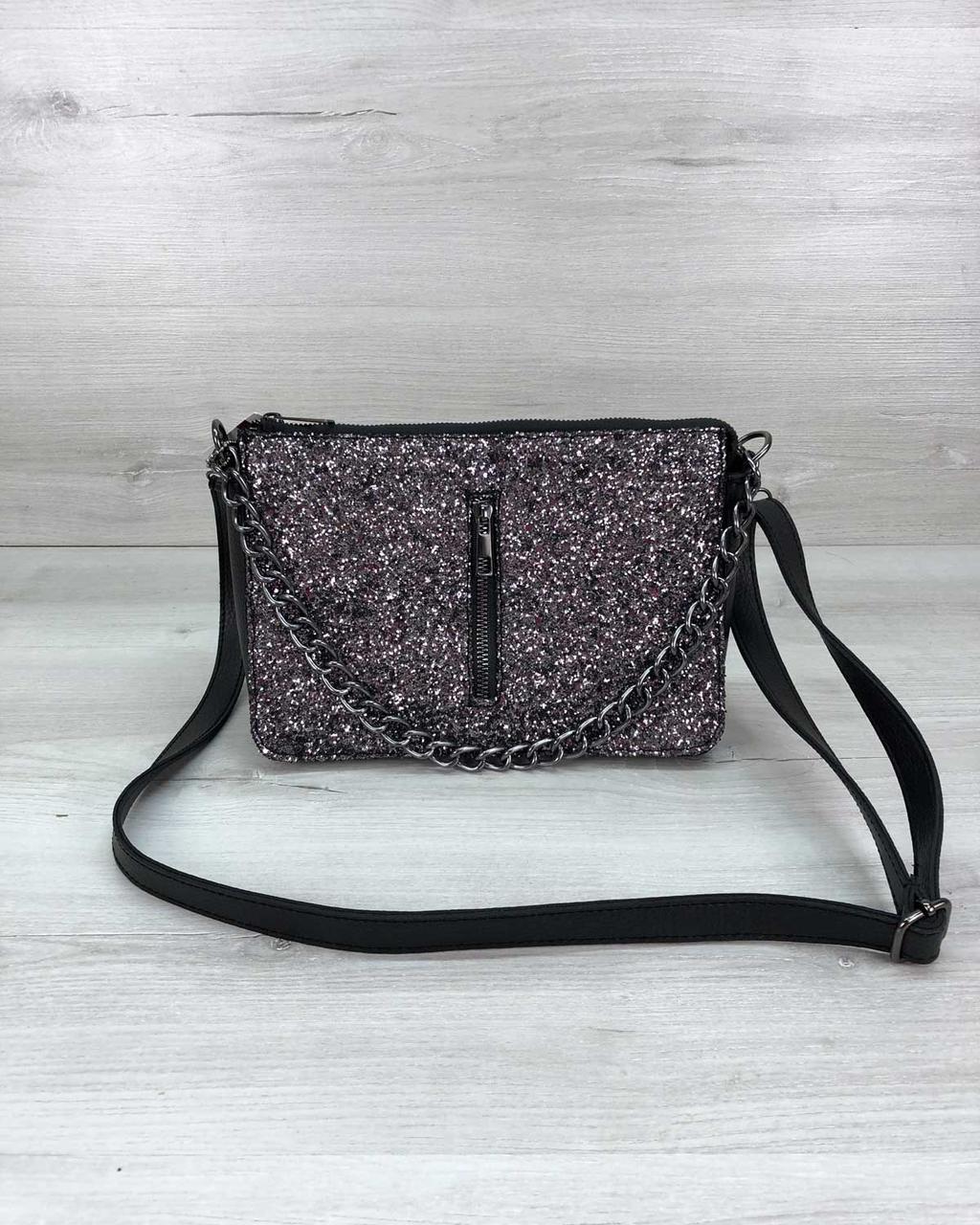 Блестящая мини сумочка клатч через плечо