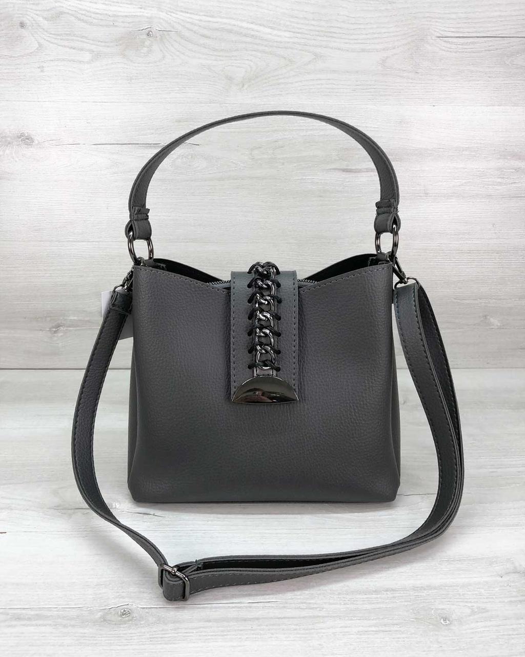 Красивая серая стильная женская сумка наплечная небольшая