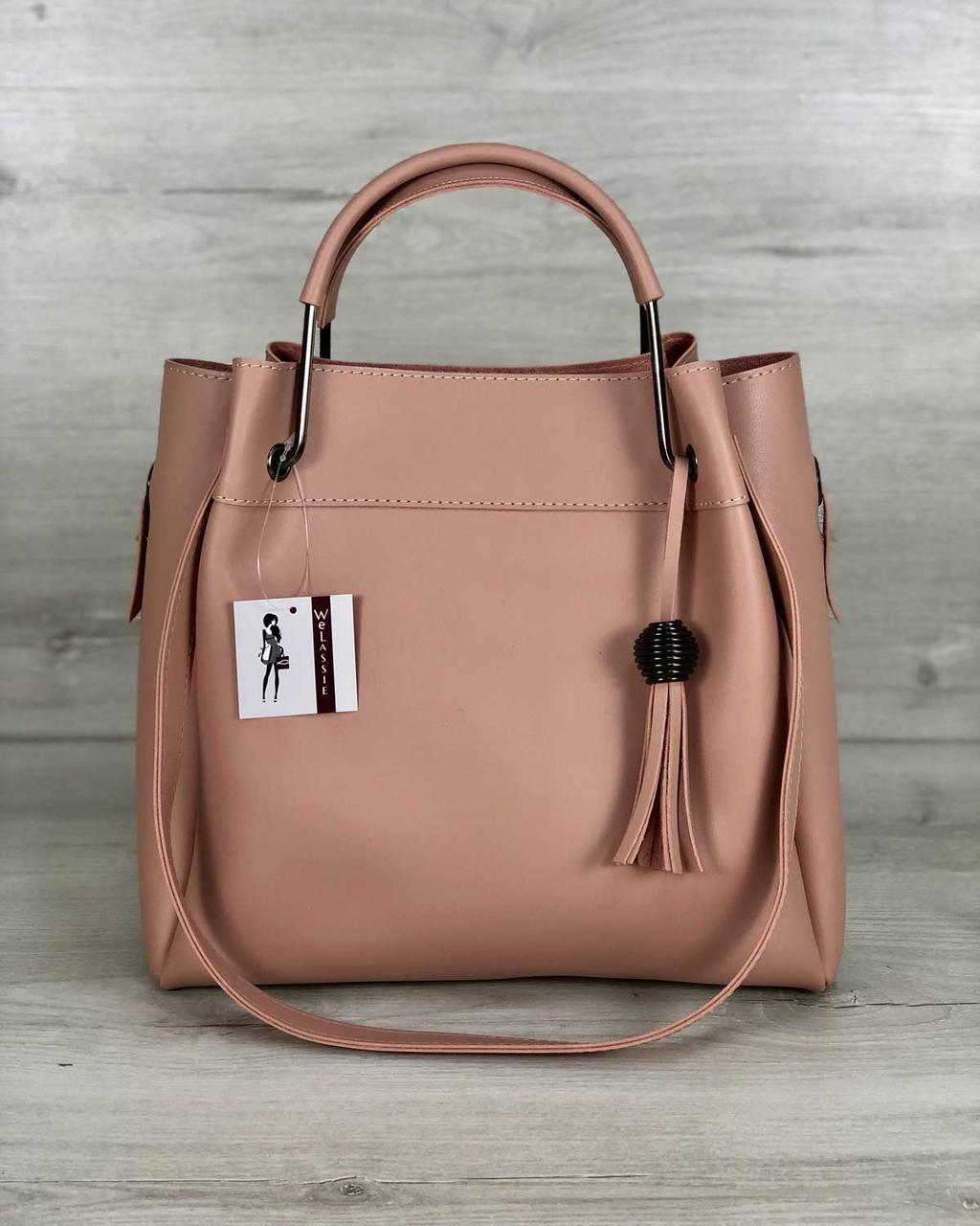 Женская классическая сумка розовая стильная с косметичкой