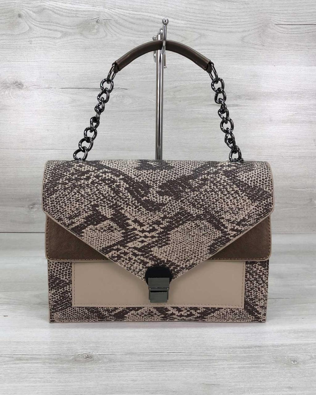 Молодежная каркасная сумка женская под змеиную кожу