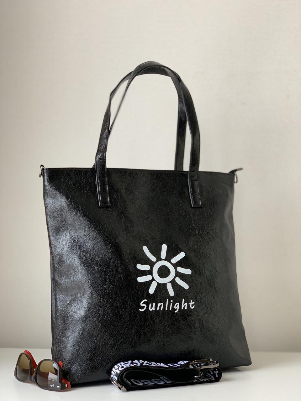 Сумка шоппер молодежная повседневная черная на широком текстильном плечевом ремне