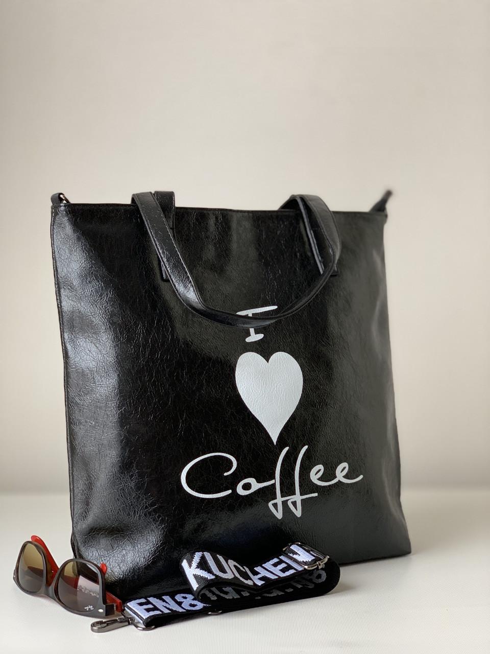 Молодіжна чорна сумка шоппер з екошкіри на кожен день з декоративним плечовим ремінцем