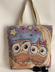 Річна еко сумка з тканини(лляні) з совами