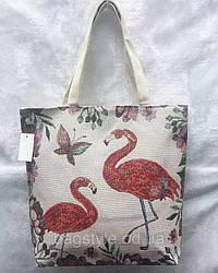 Льняная женская пляжная сумка-шоппер с Фламинго