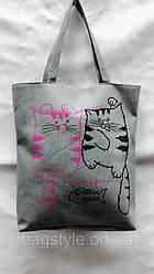 Эко сумка шоппер из хлопка с принтом котов