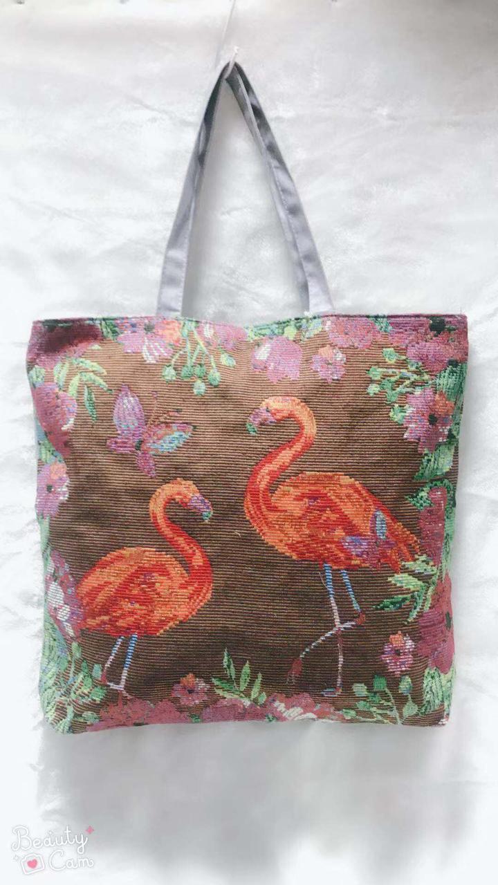 Тканинна еко сумка для покупок з малюнком фламінго