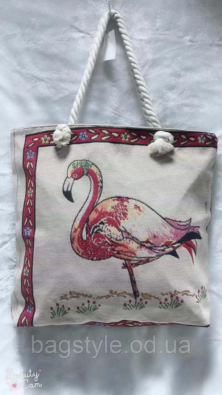 Жіноча тканинна (коттоновая) пляжна сумка яскрава з малюнком фламінго