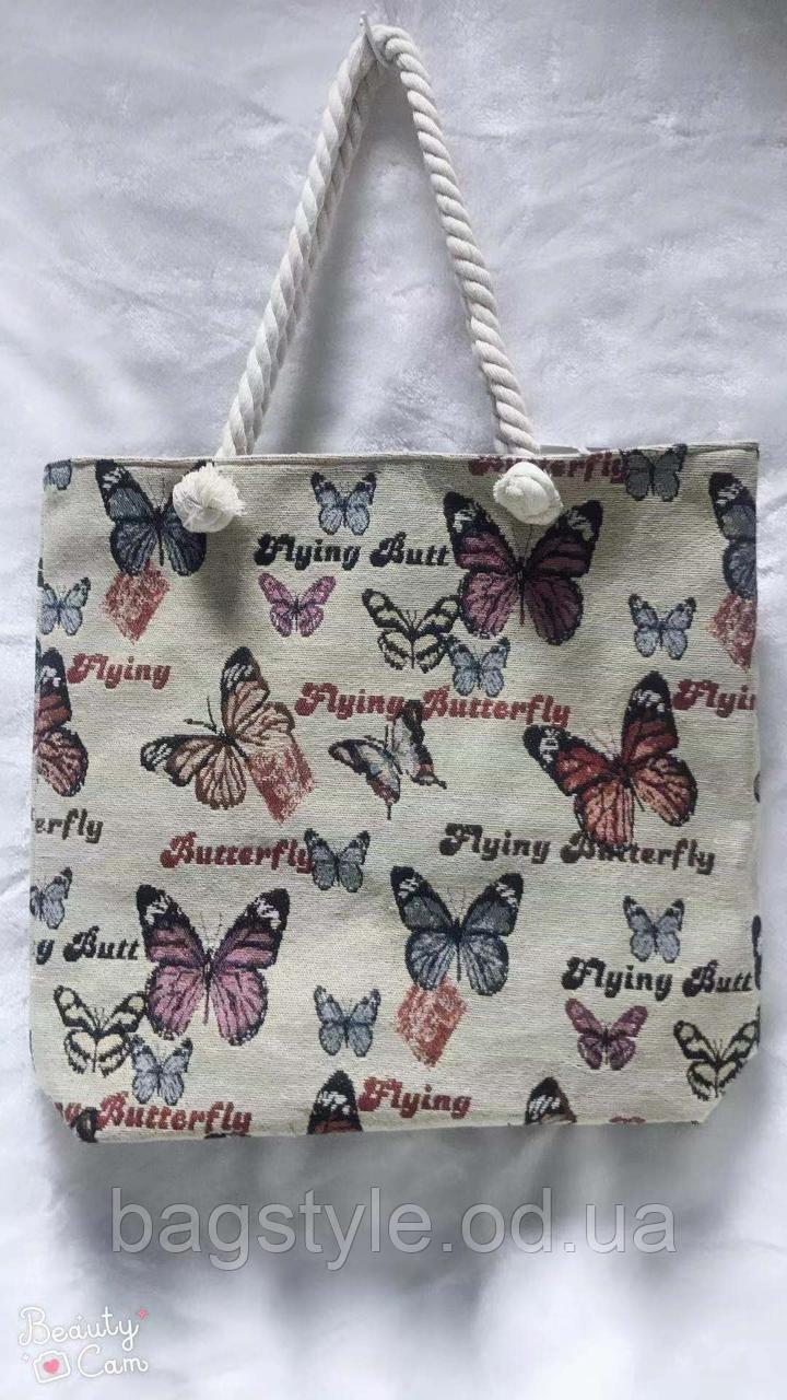 Пляжная тканевая летняя сумка с рисунком бабочки