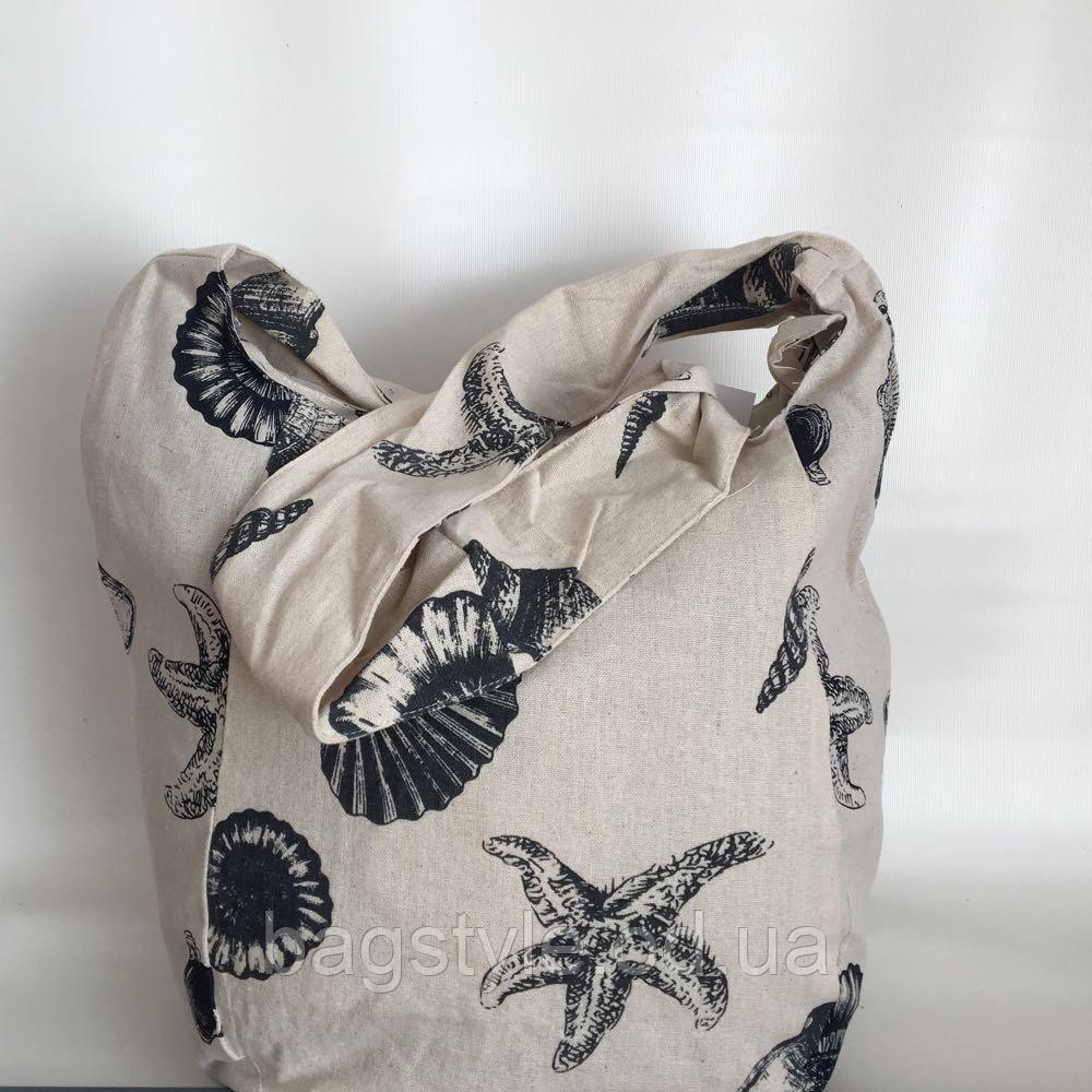 Тканевая(льняная) пляжная сумка морская тематика