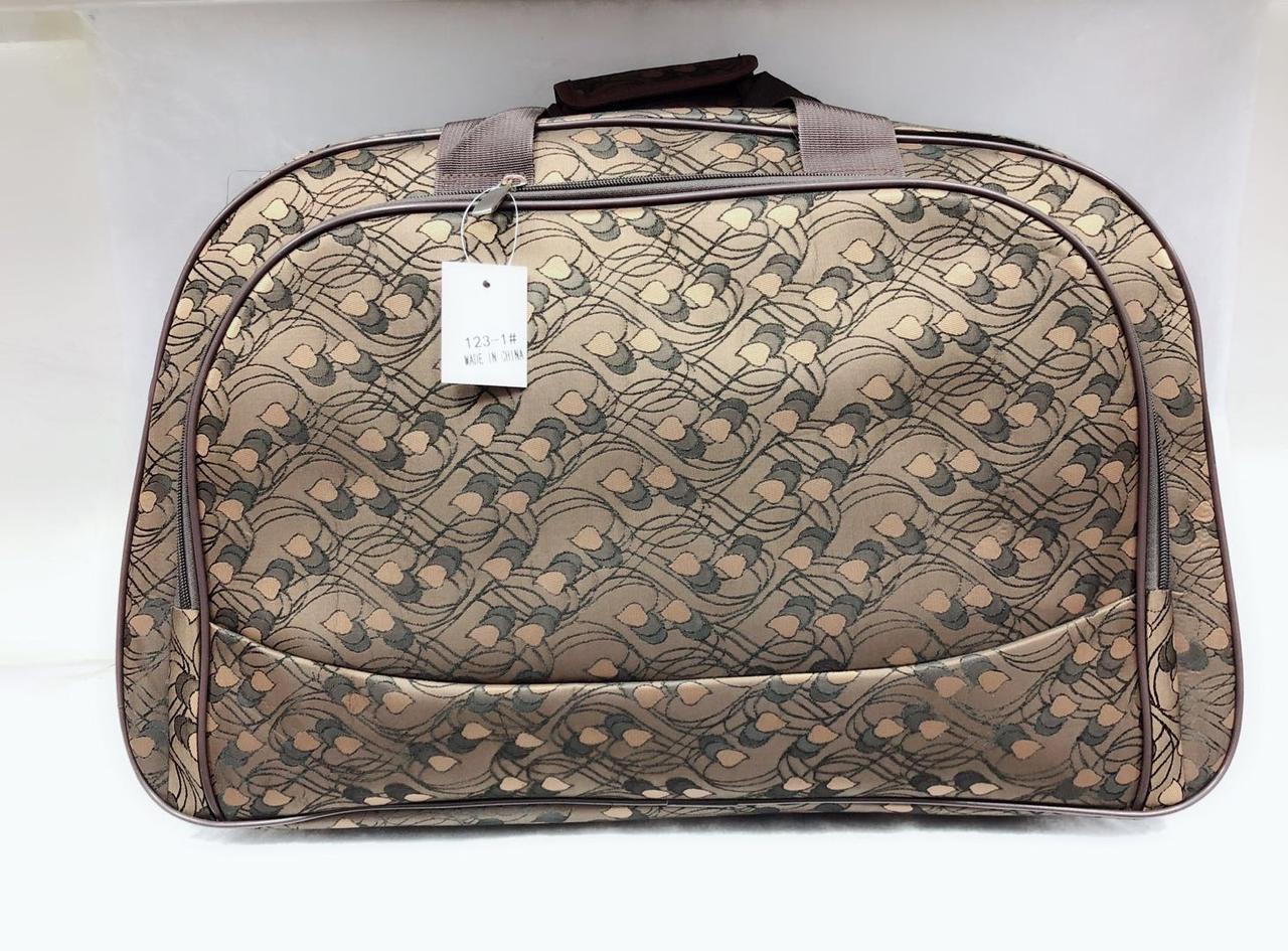 Коричнева дорожня текстильна сумка велика для поїздок