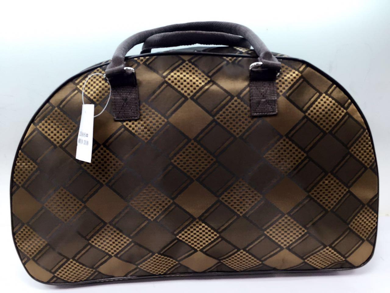 Дорожная тканевая женская сумка-саквояж коричневая