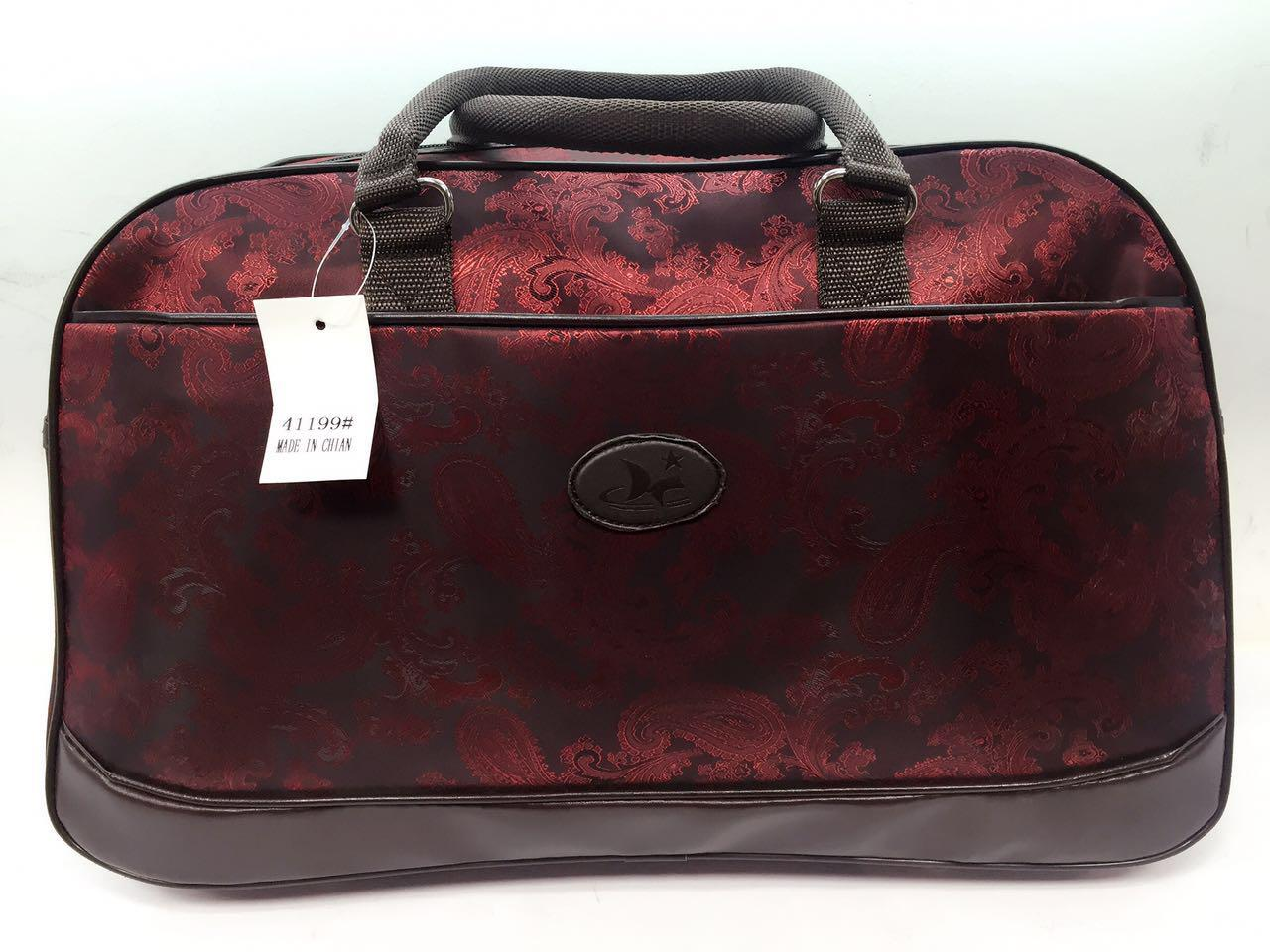 Яркая дорожная текстильная женская сумка-саквояж красная