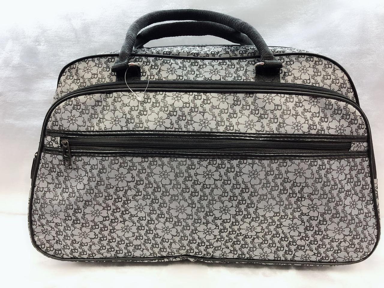 Женская красивая стильная дорожная сумка-саквояж серая