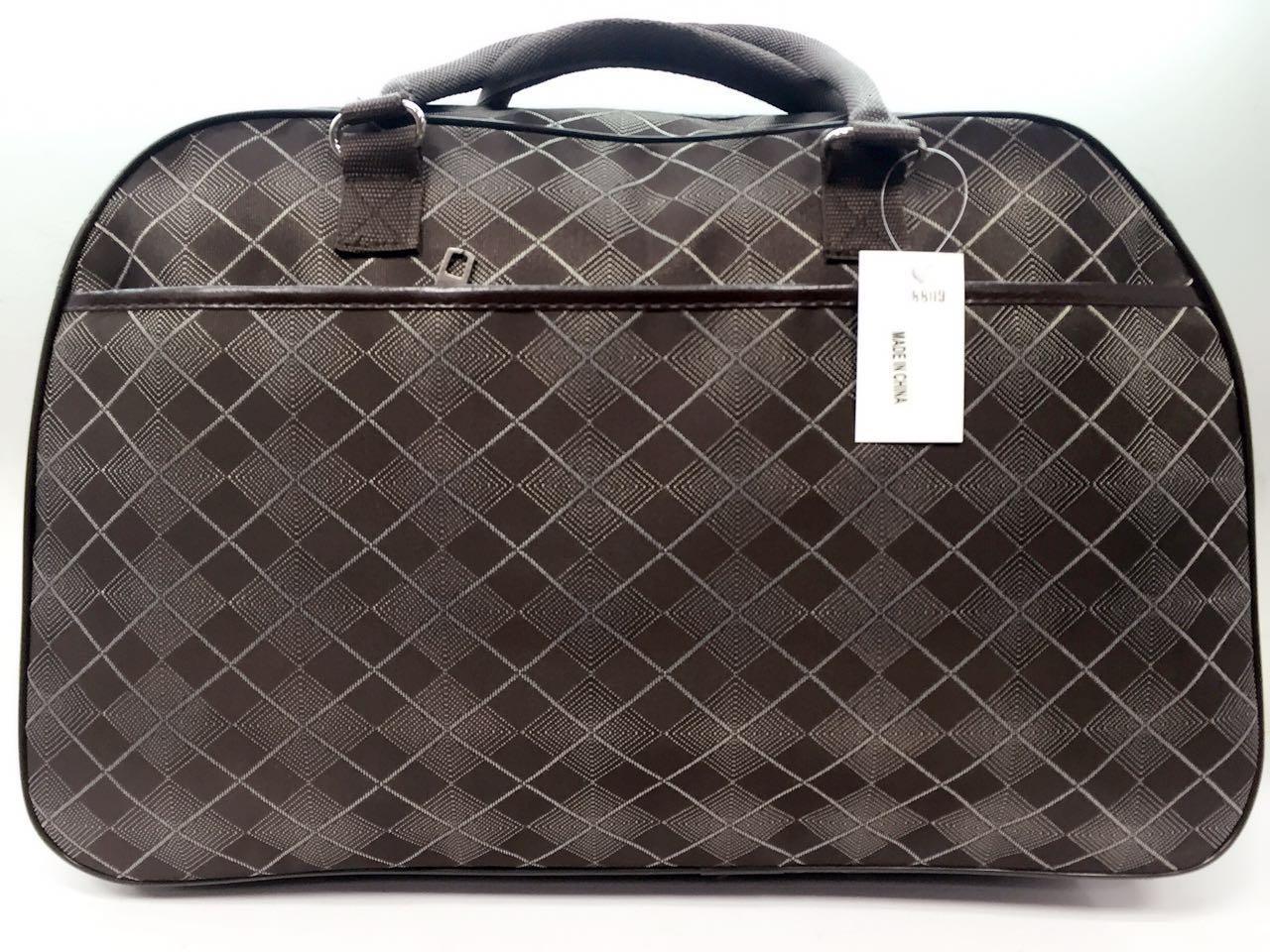 Стильная дорожная женская сумка-саквояж коричневая вместительная