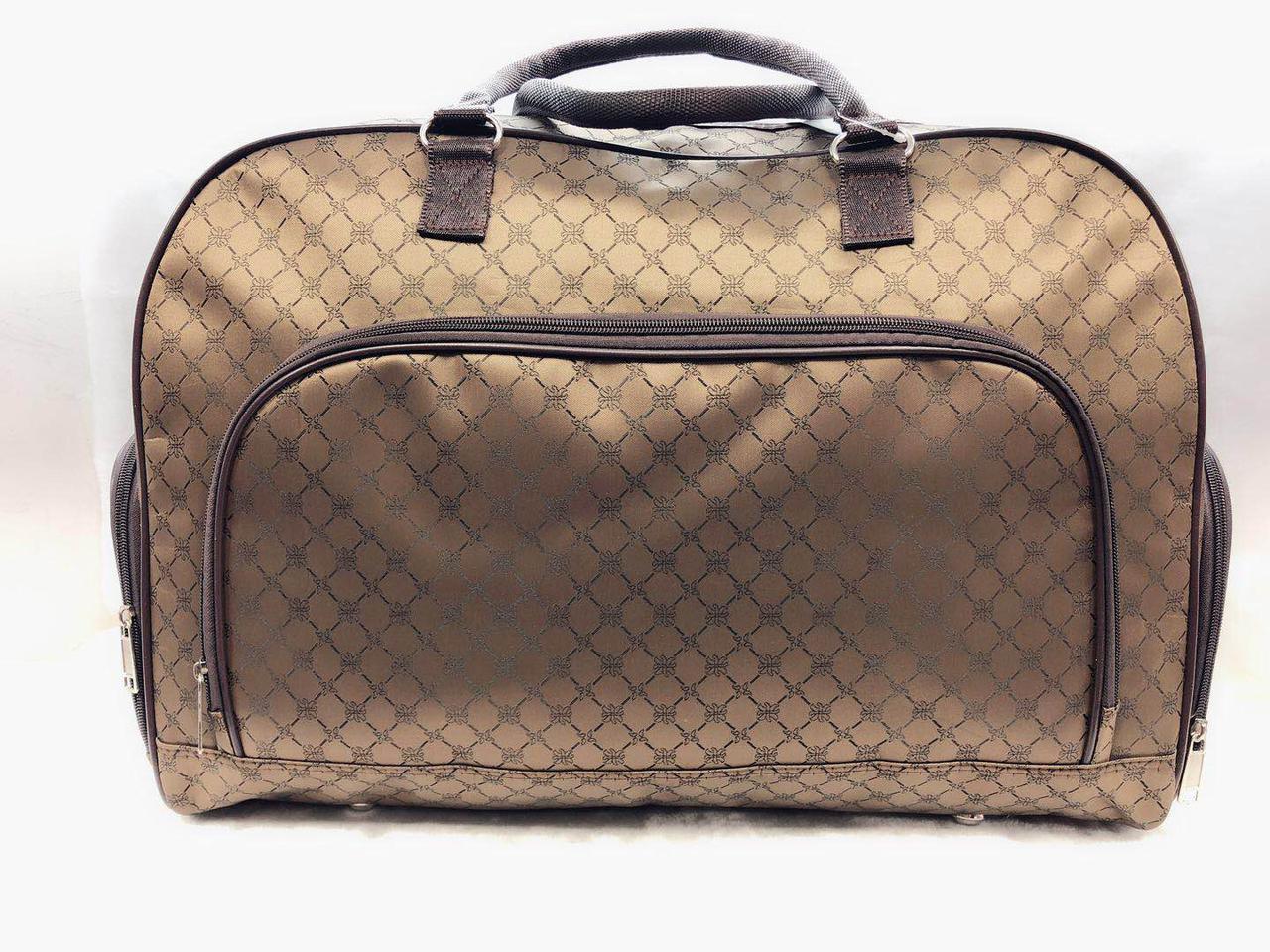 Коричневая женская сумка-саквояж дорожная универсальная текстильная