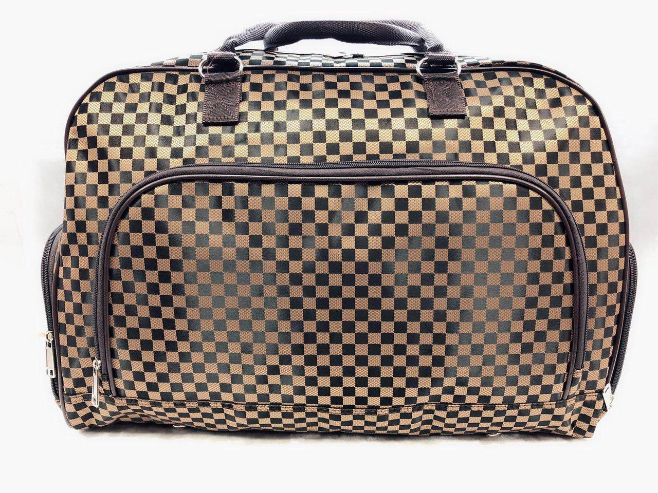 Жіноча красива дорожня сумка-саквояж коричнева міцна текстильна