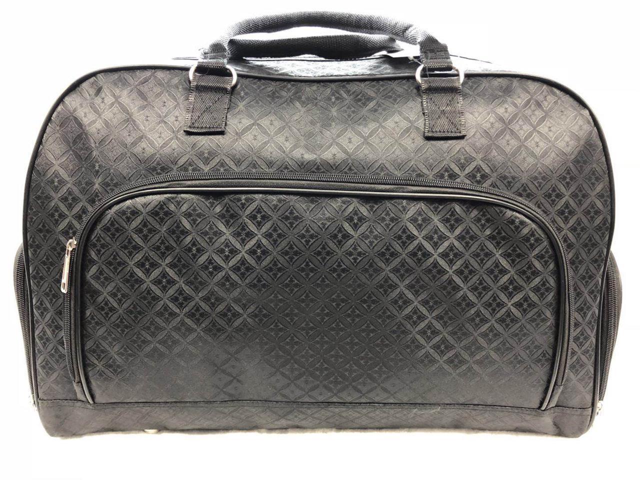 Велика чорна дорожня сумка-саквояж текстильна жіноча
