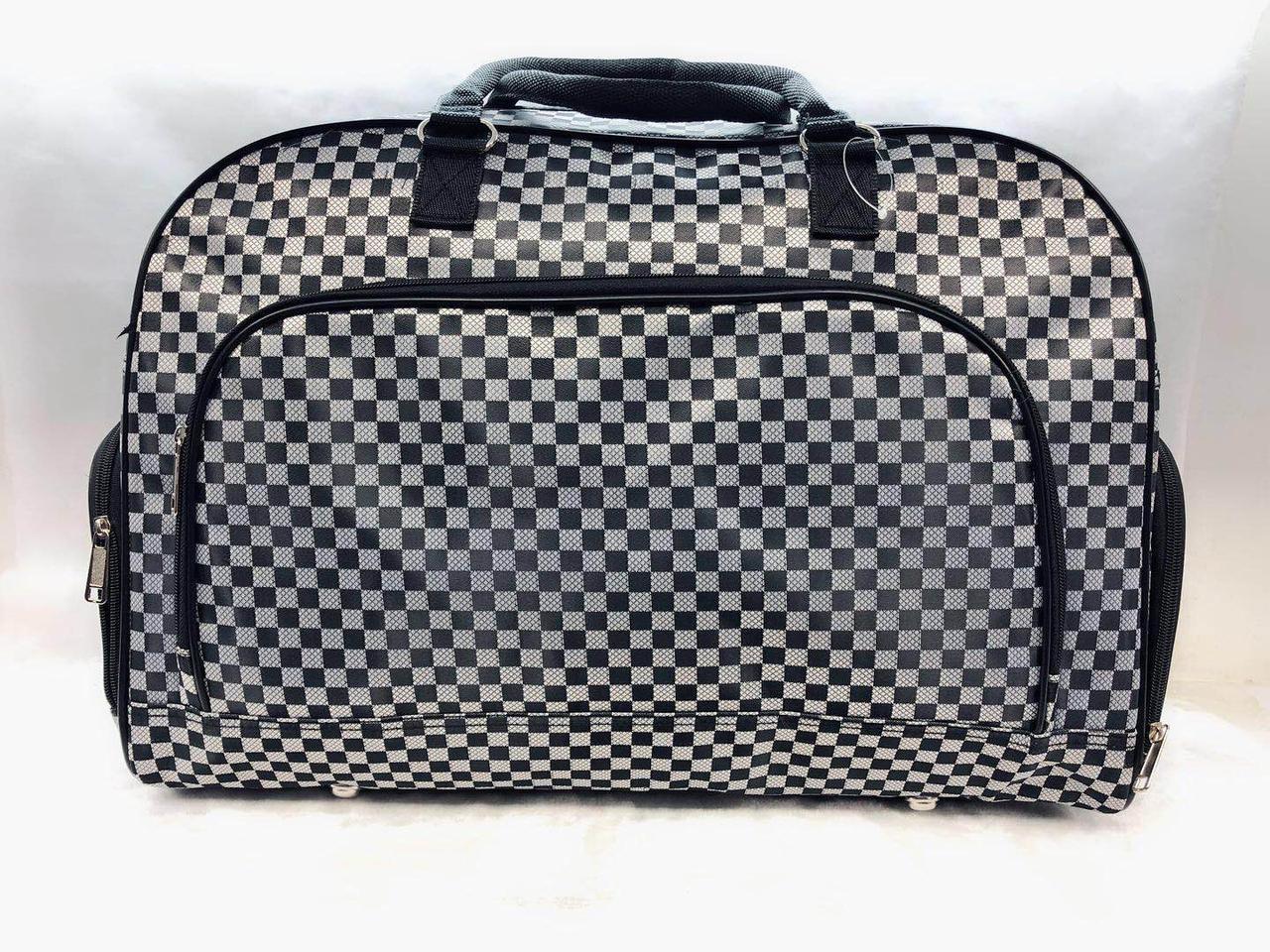 Женская большая дорожная сумка саквояж стильная серая