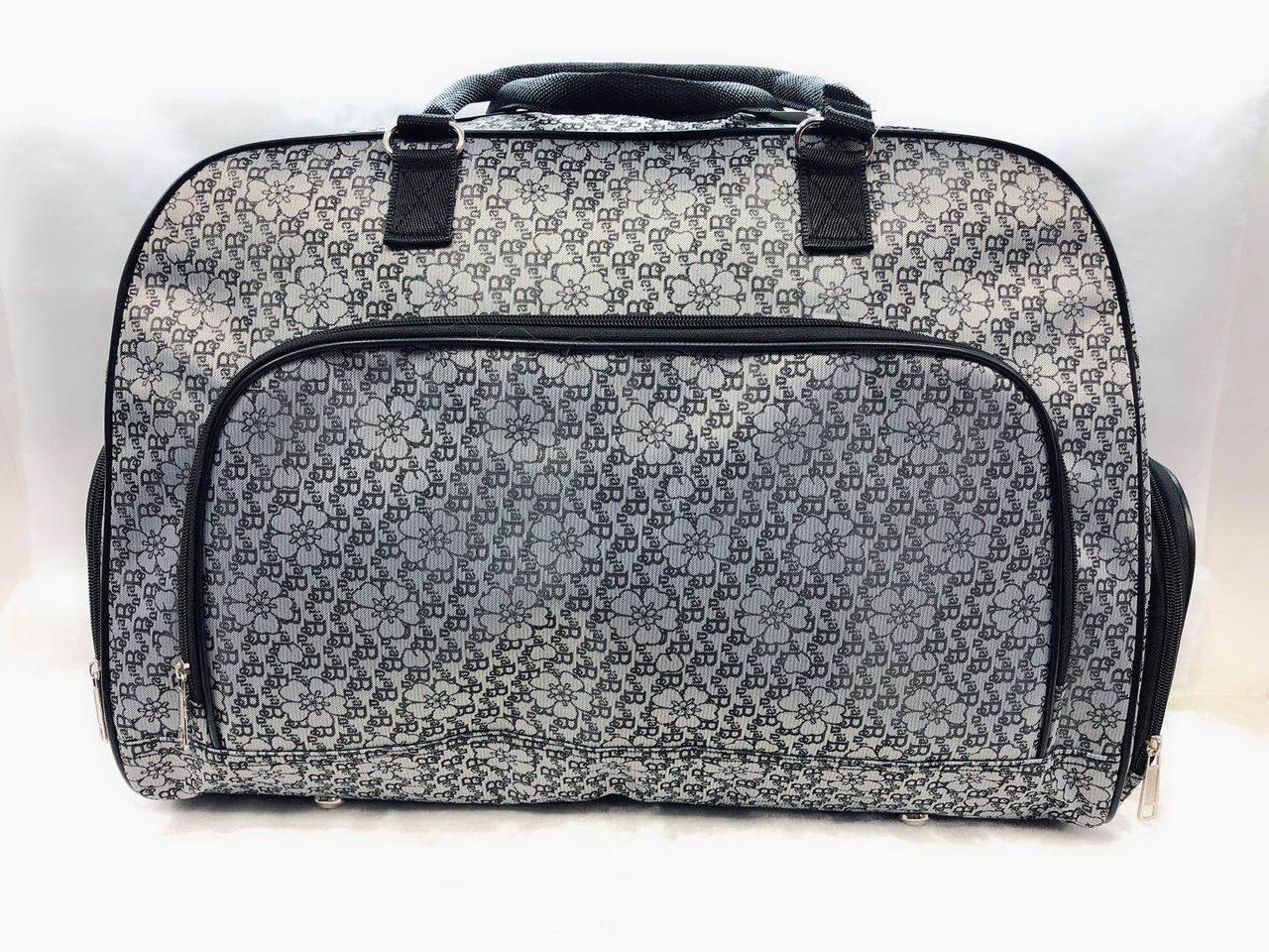 Вместительная женская дорожная серая сумка-саквояж текстиль